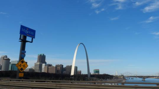 St Louis' elegant arch, from Horatio's passenger side window. Nearly lost the camera taking this at 70 mph.